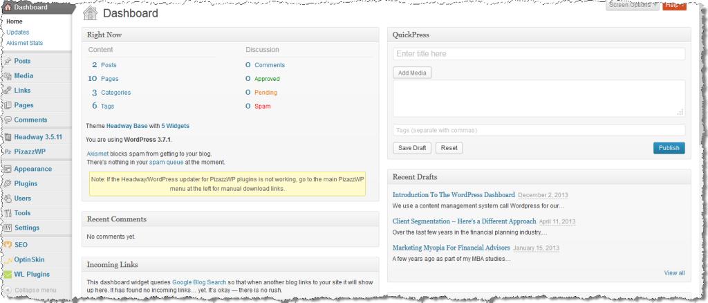 20131202 WordPress Dashboard